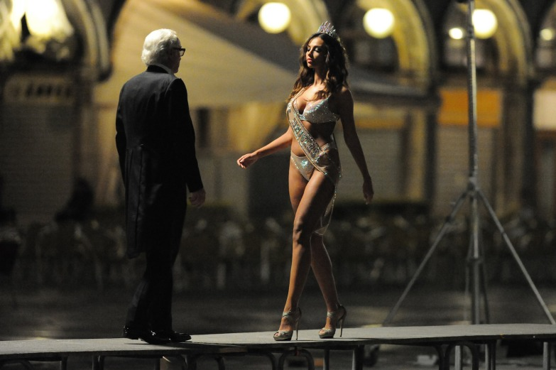 Michael Caine;Madalina Ghenea On the Nightly set of Sorrentino film - Youth Venice Italy 03-07-2014 © FameFlynet_Italy/SGP id 91746_002 *not exclusive